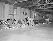 Y-480418-22. 2 Indian women serving food to Indian mothers and their children in the Celilo Village longhouse during the Feast of the First Salmon dinner. April 18, 1948.