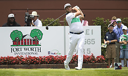 May 25, 2018 - Fort Worth, TX, USA - FORT WORTH, TX - MAY 25, 2018 - Jon Rahm tees off on the first hole during the second round of the 2018 Fort Worth Invitational PGA at Colonial Country Club in Fort Worth, Texas (Credit Image: © Erich Schlegel via ZUMA Wire)