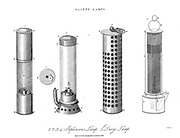Safety Lamps A safety lamp is any of several types of lamp that provides illumination in coal mines and is designed to operate in air that may contain coal dust or gases, both of which are potentially flammable or explosive. Until the development of effective electric lamps in the early 1900s miners used flame lamps to provide illumination. Open flame lamps could ignite flammable gases which collected in mines, causing explosions and so safety lamps were developed to enclose the flame and prevent it from igniting the surrounding atmosphere. Flame safety lamps have been replaced in mining with sealed explosion-proof electric lights. Copperplate engraving From the Encyclopaedia Londinensis or, Universal dictionary of arts, sciences, and literature; Volume XXII;  Edited by Wilkes, John. Published in London in 1827