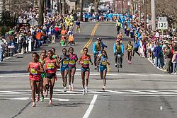2014 Boston Marathon: lead pack of elite women led by Buzenesh Deba