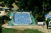 3 October 1998: Outdoor roller hockey in-line skating rink on Catalina Island, Catalina, Los Angeles County California. Aerial photo.
