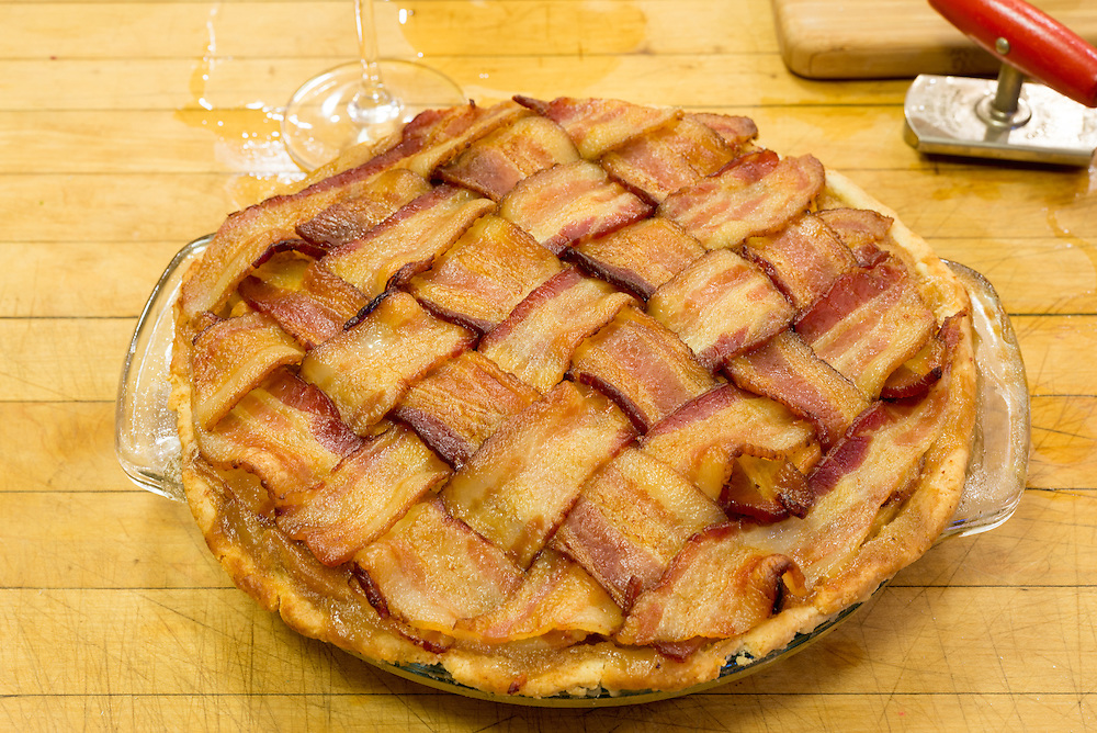 Bacon topped apple pie.