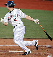 Andrew Saylor lines a base hit last night in the fourth inning. DAVID RICHARD / GAZETTE