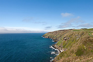 Hiking the Raad ny Foillan coastal path or 'Way of the Gull', Isle of Man. Pictured here, the coast path between Glen Maye and Peel. © Rudolf Abraham