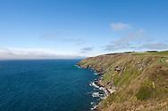 Hiking the Raad ny Foillan coastal path or 'Way of the Gull', Isle of Man. Pictured here, the coast path between Glen Maye and Peel. © Rudolf Abraham