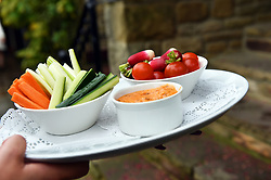 Crudites being served at a reception partyUK