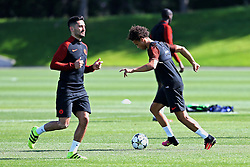 New Manchester City signings Leroy Sane and Ilkay Gundogan warm up - Mandatory by-line: Matt McNulty/JMP - 23/08/2016 - FOOTBALL - Manchester City - Training session ahead of Champions League qualifier against Steaua Bucharest