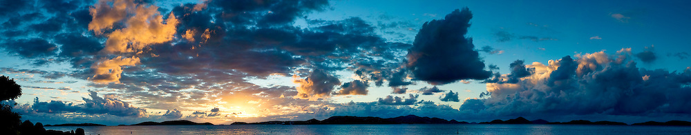 Sunset in the Caribbean with dramatic cloudscape. Taken from Gallows Point, St John, US Virgin Islands. High resolution panorama.
