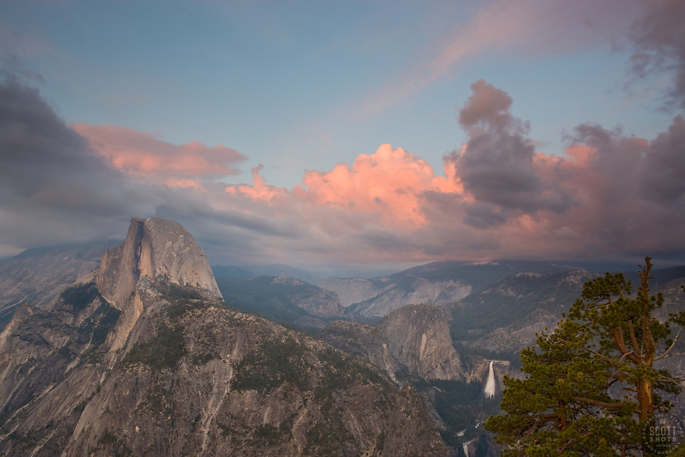 """""""Sunset at Half Dome, Yosemite""""- Photographed from Glacier Point. Yosemite, CA."""