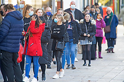 © Licensed to London News Pictures. 04/11/2020.  <br /> Bromley, UK. People queuing outside Primark. Last minute lockdown panic buying shoppers flock to Bromley High Street in South London this afternoon to get food essentials and Christmas gifts. Photo credit:Grant Falvey/LNP
