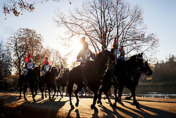 © Licensed to London News Pictures. 29/11/2016. London, UK. Members of The Household Cavalry practise in Hyde Park, London on a frosty morning as temperatures in the capital drop as low as -3C on Tuesday, 29 November 2016. Photo credit: Tolga Akmen/LNP