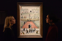 """© Licensed to London News Pictures. 17/11/2017. London, UK.  London, UK.  17 November 2017. Staff members view """"The Steps"""", 1962, by L.S. Lowry (Est. GBP 0.65-0.8m).  Preview upcoming auctions of Modern & Post War British Art and Scottish Art taking place at Sotheby's, New Bond Street, on 21 and 22 November. Photo credit: Stephen Chung/LNP"""