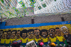 June 14, 2018 - Sao Paulo, Brazil - Maybe a little later than normal, but streets in various regions of the capital and Greater São Paulo have gained the colors of Brazil, at the 2018 World Cup debut in Russia. In recent weeks, the impression that sentiment over the World Cup is more cramped than in previous editions has been one of the city's discussions. According to Datafolha, 53% of Brazilians have no interest in the tournament. Some residents, however, point to normalcy at the party that will start already at 45 in the second half. (Credit Image: © Cris Faga/NurPhoto via ZUMA Press)