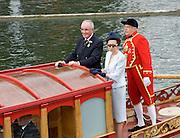 Henley. UNITED KINGDOM. Princess Royal, Princess Anne visit to 2010 Henley Royal Regatta, Royal Barge moves towards the Stewards Enclosure, Regatta Chairman Mike SWEENEY.  Friday 02/07/2010.[Mandatory Credit: Patrick White/Intersport Images] . HRR.