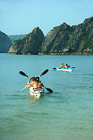 """Cruising Halong Bay gives visitors the chance to cruise the bay in style and comfort but also to enjoy kayaking.  Kayaks are usually an """"add on"""" to the boat cruise itself.  It's a great way to view the UNESCO World Heritage site of Halong Bay itself."""