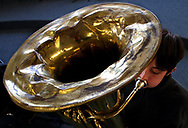 J.V. Martin Junior High School 8th grader, Gary Hyatt, practices with a school tuba which is over 30 years old.