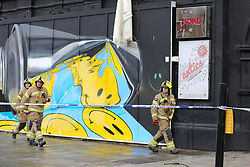 © Licensed to London News Pictures. 07/01/2020. London, UK. Fire-fighters outside Koko, the music venue in Camden following the fire just before 9pm on Monday 6 January 2020. The roof of the venue is badly damaged as fire-fighters brought the fire under control at about 02:30 on Tuesday 7 January 2020. Photo credit: Dinendra Haria/LNP