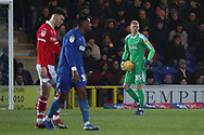AFC Wimbledon goalkeeper Aaron Ramsdale (35) holding the ball and about to start an attack during the EFL Sky Bet League 1 match between AFC Wimbledon and Barnsley at the Cherry Red Records Stadium, Kingston, England on 19 January 2019.