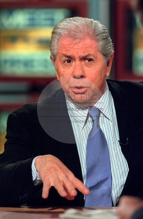 Journalist Carl Bernstein discusses the Monica Lewinsky scandal during NBC's Meet the Press August 9, 1998 in Washington, DC.