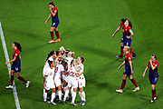 LE HAVRE, FRANCE - JUNE 27: Norway players look dejcted as Lucy Bronze of England celebrates with teammates after scoring her team's third goal during the 2019 FIFA Women's World Cup France Quarter Final match between Norway and England at Stade Oceane on June 27, 2019 in Le Havre, France. (Photo by Maddie Meyer - FIFA/FIFA via Getty Images)