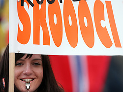 Fan with a transparent (Juuuump) at e.on Ruhrgas FIS World Cup Ski Jumping on K215 ski flying hill, on March 14, 2008 in Planica, Slovenia . (Photo by Vid Ponikvar / Sportal Images)./ Sportida)