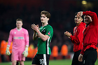 Lincoln City's Alex Woodyard applauds the away fans at full time         <br /> <br /> <br /> Photographer Craig Mercer/CameraSport<br /> <br /> The Emirates FA Cup Sixth Round - Arsenal v Lincoln City - Saturday 11th March 2017 - The Emirates - London<br />  <br /> World Copyright © 2017 CameraSport. All rights reserved. 43 Linden Ave. Countesthorpe. Leicester. England. LE8 5PG - Tel: +44 (0) 116 277 4147 - admin@camerasport.com - www.camerasport.com