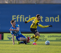 Oxford United's Marcus Browne (right) is tackled by Blackpool's Ben Henegham (left) <br /> <br /> Photographer David Horton/CameraSport<br /> <br /> The EFL Sky Bet League One - Oxford United v Blackpool - Saturday 1st February 2020 - Kassam Stadium - Oxford<br /> <br /> World Copyright © 2020 CameraSport. All rights reserved. 43 Linden Ave. Countesthorpe. Leicester. England. LE8 5PG - Tel: +44 (0) 116 277 4147 - admin@camerasport.com - www.camerasport.com