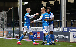 Ryan Broom of Peterborough United is congratulated after scoring his goal - Mandatory by-line: Joe Dent/JMP - 03/10/2020 - FOOTBALL - Weston Homes Stadium - Peterborough, England - Peterborough United v Swindon Town - Sky Bet League One