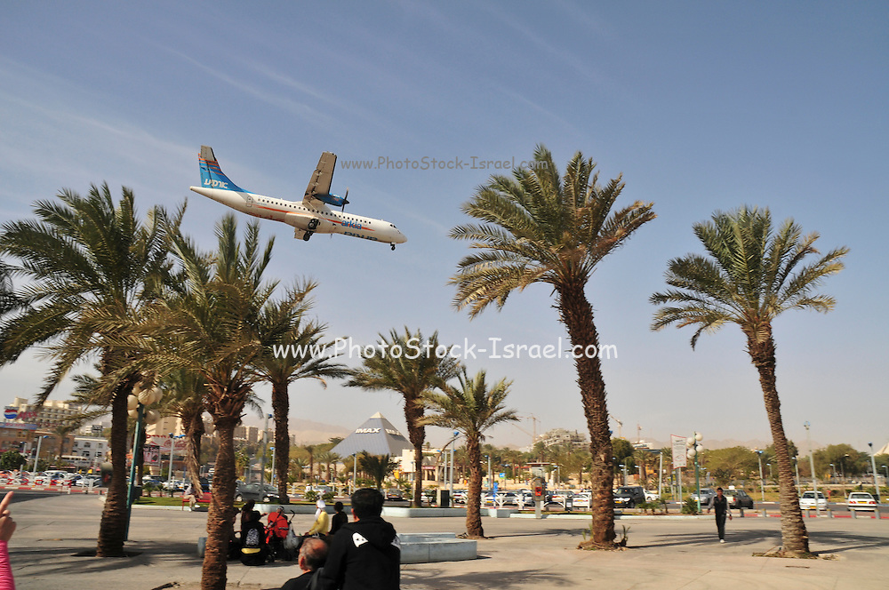 Israel, Eilat Arkia plane lands at the airport