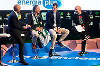 Sport journalist Antonio Lobato, Ex soccer player Rafael Gordillo, Real Betis Energia Plus player Nikola Radicevic and comedian Goyo Jimenez during the presentation of the new season of La Liga Endesa 2016-2017 in Madrid. September 20, 2016. (ALTERPHOTOS/Borja B.Hojas)