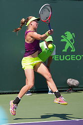 March 20, 2018 - Key Biscayne, FL, U.S. - KEY BISCAYNE, FL - MARCH 20: Johanna Larsson (SWE) competes during the qualifying round of the 2018 Miami Open on March 20, 2018, at Tennis Center at Crandon Park in Key Biscayne, FL. (Photo by Aaron Gilbert/Icon Sportswire) (Credit Image: © Aaron Gilbert/Icon SMI via ZUMA Press)