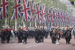 © Licensed to London News Pictures. 28/05/2016. London, UK. The Major's General's Review takes place. Hundreds troops are taking part in the first of two rehearsals for the Trooping the Colour ceremony, the Queen's annual birthday parade. Photo credit: Peter Macdiarmid/LNP