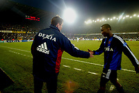 Fotball. Belgisk Liga. 07.12.2002.<br /> Brugge v Anderlecht.<br /> Trond Sollied. Trener Brugge. Andres Mendoza.<br /> Foto: Philippe Crochet, Digitalsport