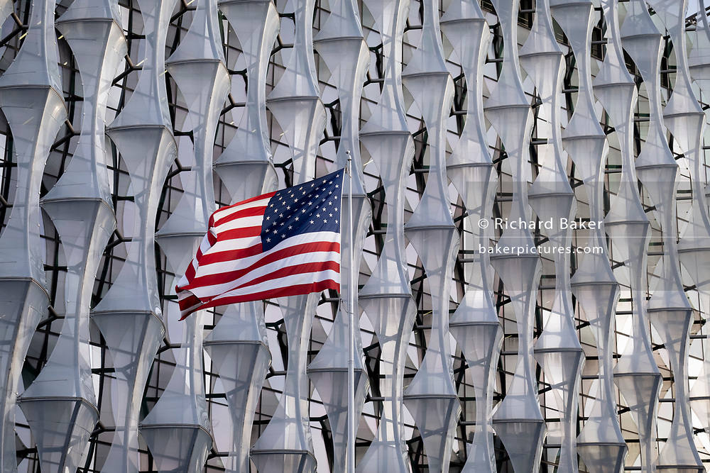 The Stars and Stripes of the United States of America flies outside the US embassy in Nine Elms, Battersea, on 13th November 2020, in London, England.