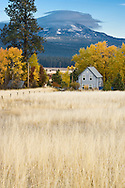 farmhouse with Mt Adams and lenticular cloud, Klickitat County, WA, USA