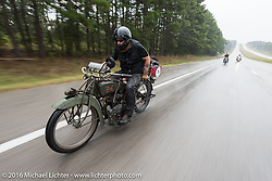 Kyle Rose of Utah rides his 1916 Excelsior in the rain during the Motorcycle Cannonball Race of the Century. Stage-6 from Cape Girardeau, MO to Springfield, MO. USA. Thursday September 15, 2016. Photography ©2016 Michael Lichter.