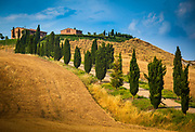 "The Val d'Orcia, or Valdorcia, is a region of Tuscany, central Italy, which extends from the hills south of Siena to Monte Amiata. It is characterised by gentle, carefully cultivated hills occasionally broken by gullies and by picturesque towns and villages such as Pienza (rebuilt as an ""ideal town"" in the 15th century under the patronage of Pope Pius II), Radicofani (home to the notorious brigand-hero Ghino di Tacco) and Montalcino (the Brunello di Montalcino is counted among the most prestigious of Italian wines). It is a landscape which has become familiar through its depiction in works of art from the Renaissance painting to the modern photograph."