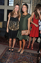 Left to right, AMANDA CROSSLEY and AMANDA FERRY at a dinner hosted by Edward Taylor and Alexandra Meyers in association with Johnnie Walker Blue Label held at Mark's Club, 46 Charles Street, London W1 on 26th April 2012.