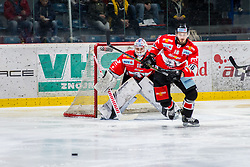 10.03.2019, Ice Rink, Znojmo, CZE, EBEL, HC Orli Znojmo vs HC TWK Innsbruck Die Haie, Qualifikationsrunde, 54. Runde, im Bild v.l. Teemu Tapio Lassila (HC Orli Znojmo) Adam Sedlak (HC Orli Znojmo) // during the Erste Bank Eishockey League 54th round match between HC Orli Znojmo and HC TWK Innsbruck Die Haie at the Ice Rink in Znojmo, Czech Republic on 2019/03/10. EXPA Pictures © 2019, PhotoCredit: EXPA/ Rostislav Pfeffer
