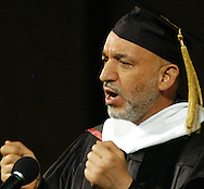 Omaha Neb, 5/25/05  Afghanistan President Hamid Karzai gives a speech at the University of Nebraska at Omaha Wednesday evening. (Chris Machian/Machian Photo)