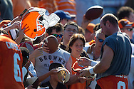 Copyright David Richard<br />Cleveland Browns quarterback Trent Dilfer signs autographs after the first day of training camp in Berea, Ohio.