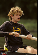 Molesey, Great Britain. GBR M2+. Bow Jonny SEARLE, 1992 British International Rowinig Training on the Molesey Reach, Surrey.  Went on to be Gold Medalist at the Barcelona Olympic Regatta later in the year.  [Mandatory Credit. Peter Spurrier/Intersport Images] +1992 +Molesey +Henley 1992 GBRowing Training, Molesey/Henley, United Kingdom