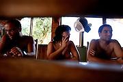 Portuguese Naturism Federation members, Nuno Frade; Paula Costa and Alexandre Moleiro at the monte Barão Camping Park.