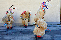Slovenie, region de Basse-Styrie, Ptuj, ville sur les rives de la Drava (Drave), jour de carnaval, les Kurent sont les personnages principaux, vêtus d'une peau de mouton, ils chassent symboliquement l'hiver // Slovenia, Lower Styria Region, Ptuj, town on the Drava River banks, carnival. The Kurent are the main figure wears a massive sheepskin garment and a chain with huge bells around its waist