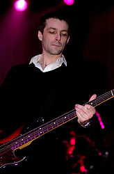 Bassist Steve Mackey performs on stage at Pulps last concert in Sheffields  Magna Centre 14th December 2002 <br /> Pulp went on to reform in 2011<br /> <br /> 14 December 2002<br /> Image Copyright Paul David Drabble<br /> www.pauldaviddrabble.co.uk