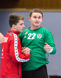 06.01.2017, BSFZ Suedstadt, Maria Enzersdorf, AUT, IHF Junior WM 2017 Qualifikation, Ungarn vs Österreich, im Bild Maximillian Riede (AUT), Boris Tanic (AUT) // during the IHF Men's Junior World Championships qualifying match between Hungary and Austria at the BSFZ Suedstadt, Maria Enzersdorf, Austria on 2017/01/06, EXPA Pictures © 2017, PhotoCredit: EXPA/ Sebastian Pucher