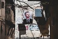 A portrait of Syrian President Bashar al-Assad on a wall in the Old City of Damascus, Syria.<br /><br />(June 15, 2010)