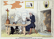 Cincinnatus in Retirement: Edmund Burke (1729-1797) Anglo-Irish statesman, out of office in 1780, shown at home as a Jesuit eating potatoes, comparing him to the Roman dictator on his farm. Devils Religion Anti-Catholic Gillray Satire