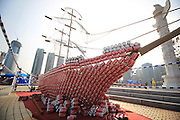 DALIAN, CHINA - AUGUST 03: (CHINA OUT) <br /> <br /> sculpture made up of Coca-Cola cans<br /> <br /> A sculpture made up of Coca-Cola cans is on display during the 15th China International Beer Festival at Xinghai Square on August 3, 2013 in Dalian, Liaoning Province of China. The 15th China International Beer Festival runs from July 26 to August 11 in Dalian. <br /> ©exclusivepix