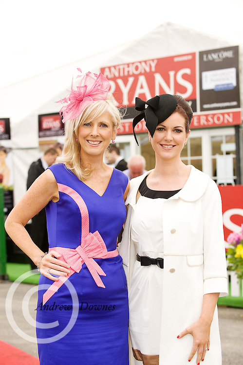 Carmel Dooley, prworks, and Cora Casserly from Anthony Ryan's at the Anthony Ryan Best Dressed Lady Competition at the Galway Races. Photo:Andrew Downes.